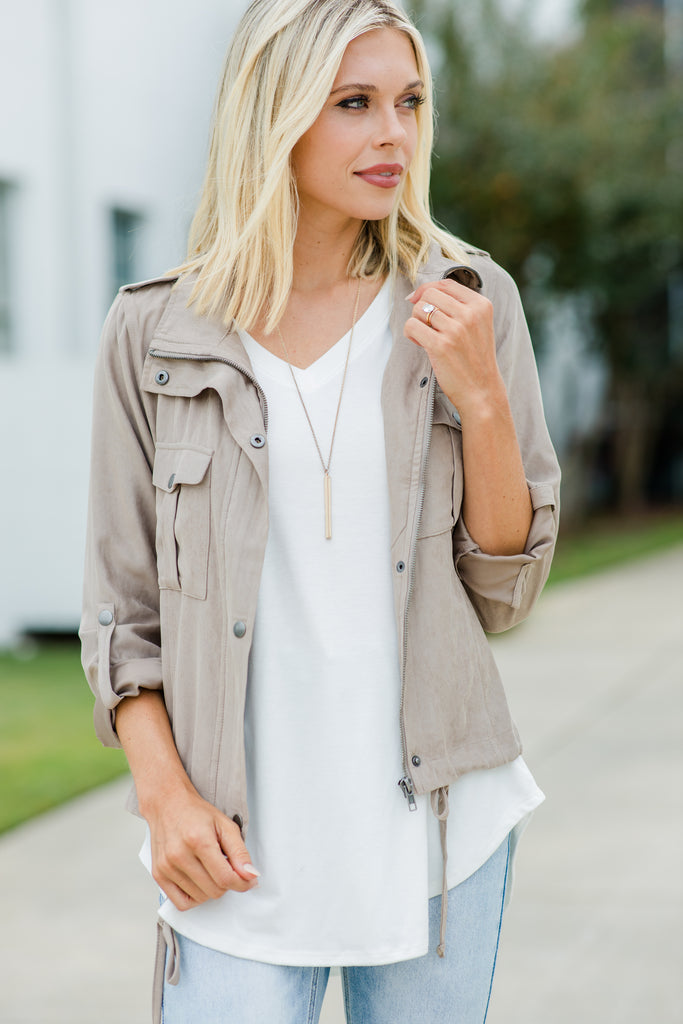 Speak Your Mind Taupe Brown Utility Jacket