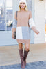colorblock mock neck sweater dress