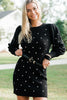 polka dot puff sleeve sweater dress