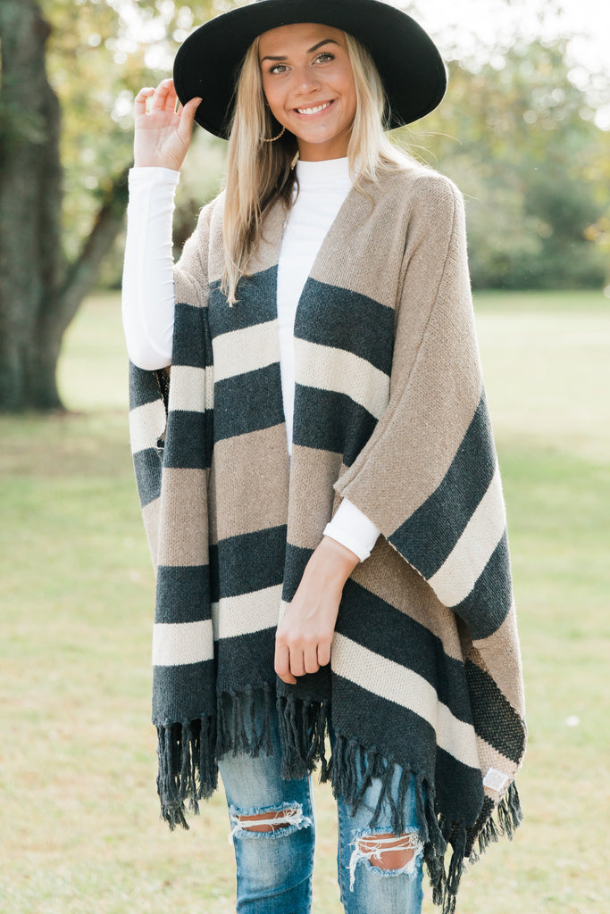 colorblock poncho with fringe