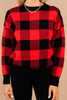 red buffalo plaid sweater