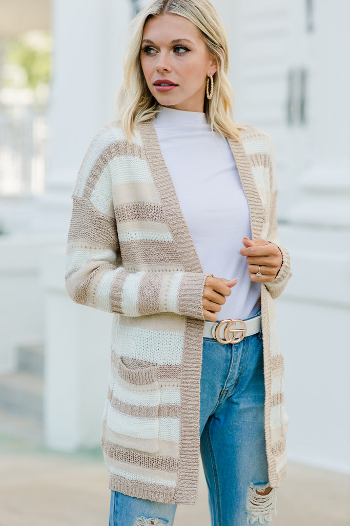 Always On Top Taupe Brown Cardigan