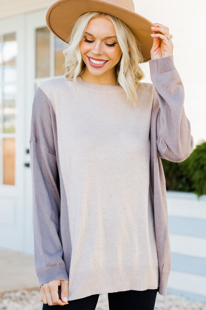 Chic Status Taupe Brown Colroblock top