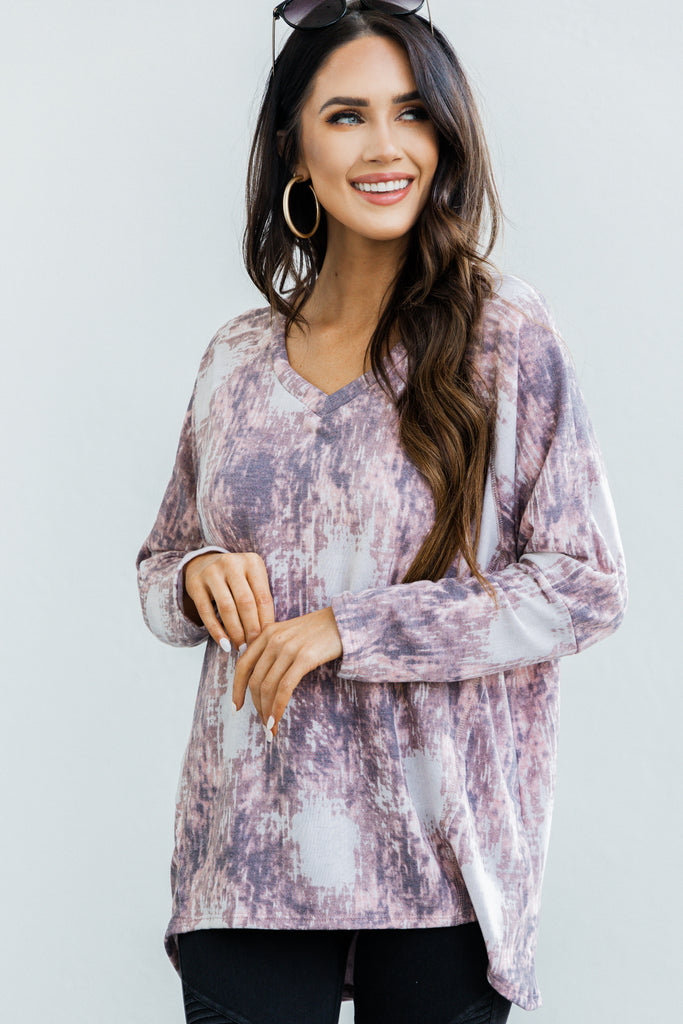 Take What's Yours Mauve Pink Tie Dye Top
