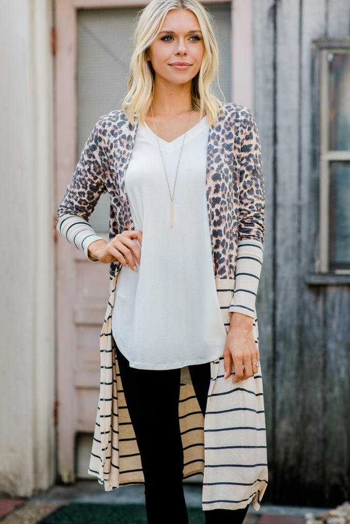 striped and leopard print cardigan