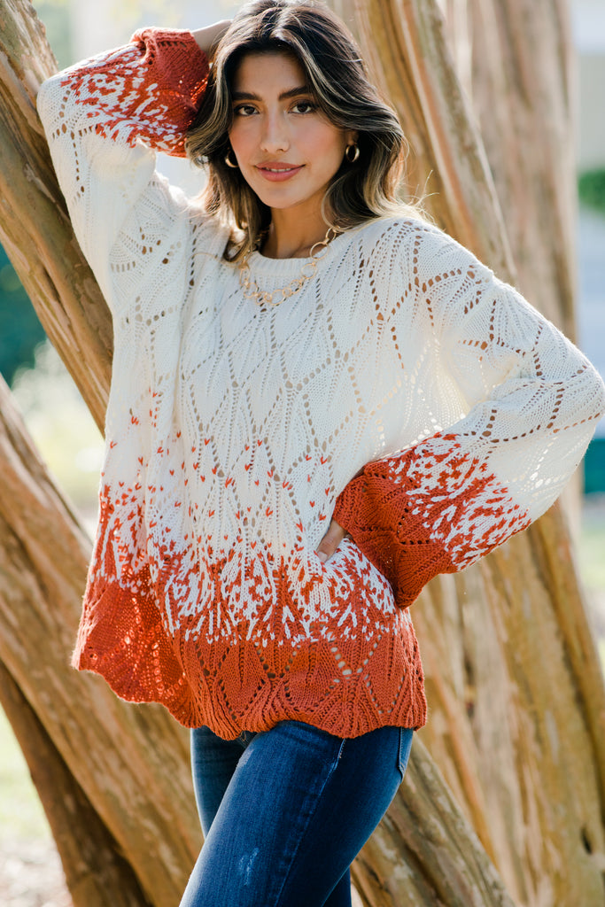 ombre colorblock loose knit sweater