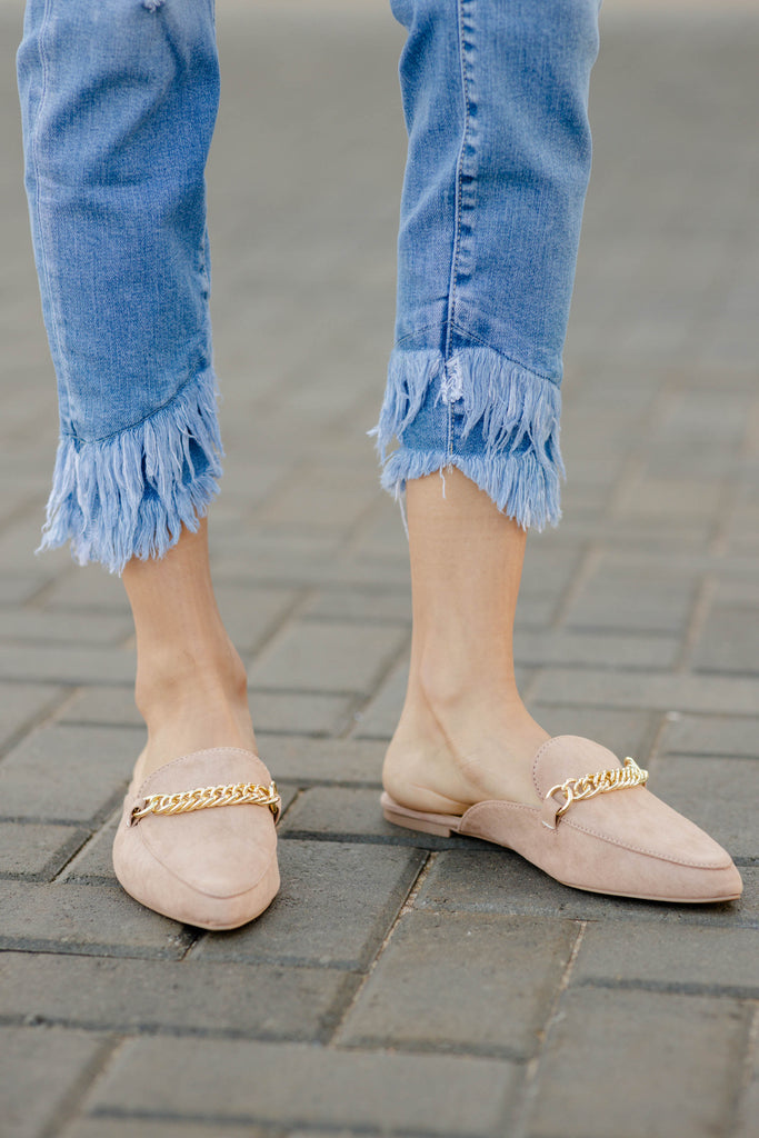 chain detail solid mules