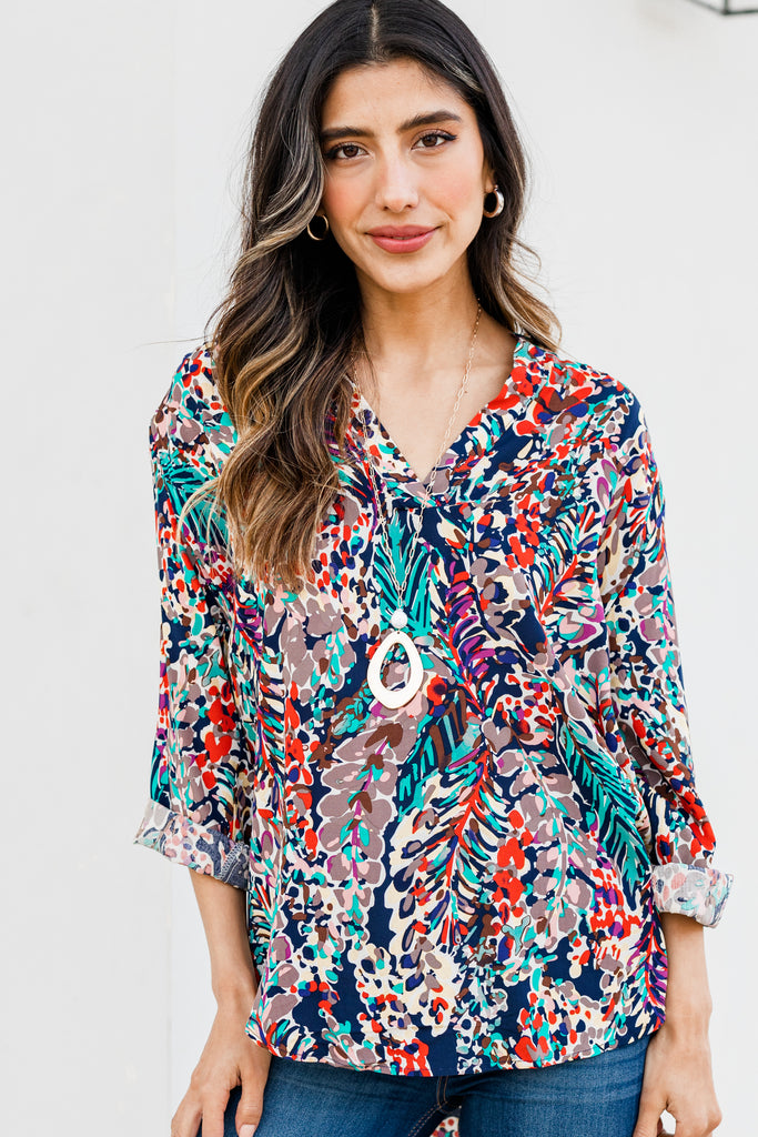colorful 3/4 sleeve floral top