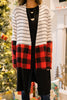 colorblock buffalo plaid cardigan