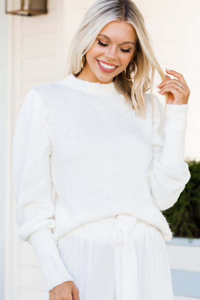 puff sleeve white sweater