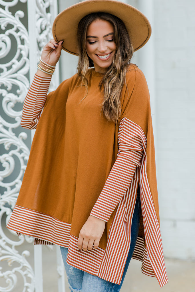 striped sleeve oversized poncho top