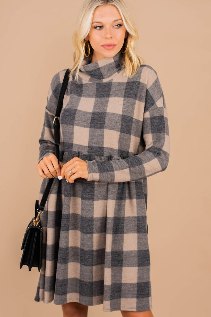 plaid turtleneck dress