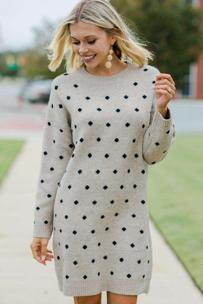 Tell The Truth Taupe Brown Polka Dot Sweater Dress