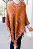 Feeling Grounded Rust Orange Tassel Poncho
