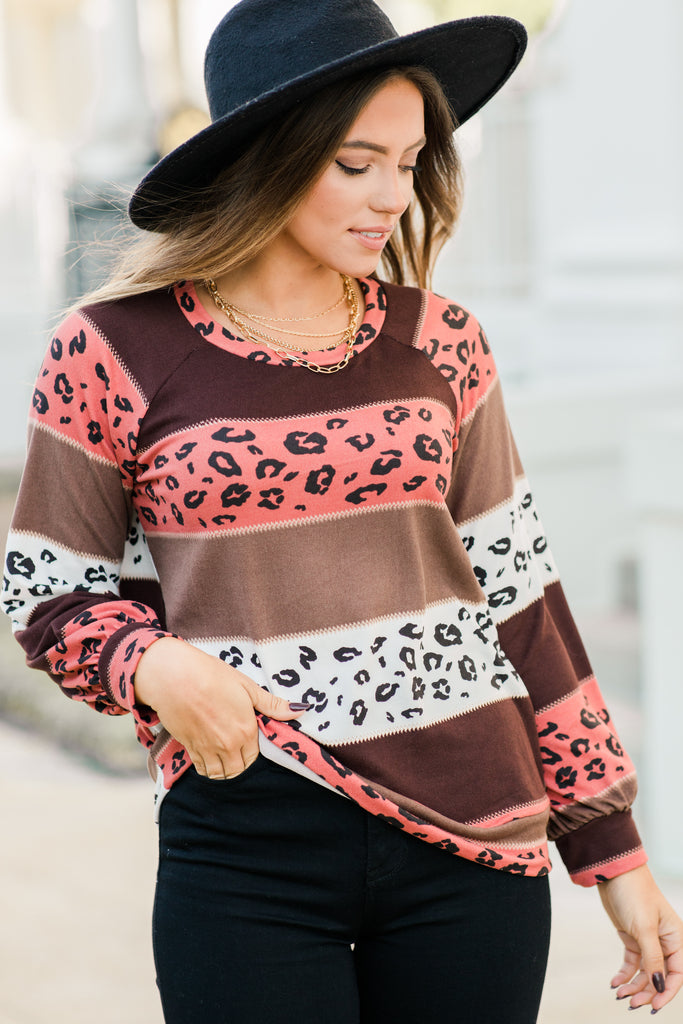 It's Official Brown Colorblock Leopard Top