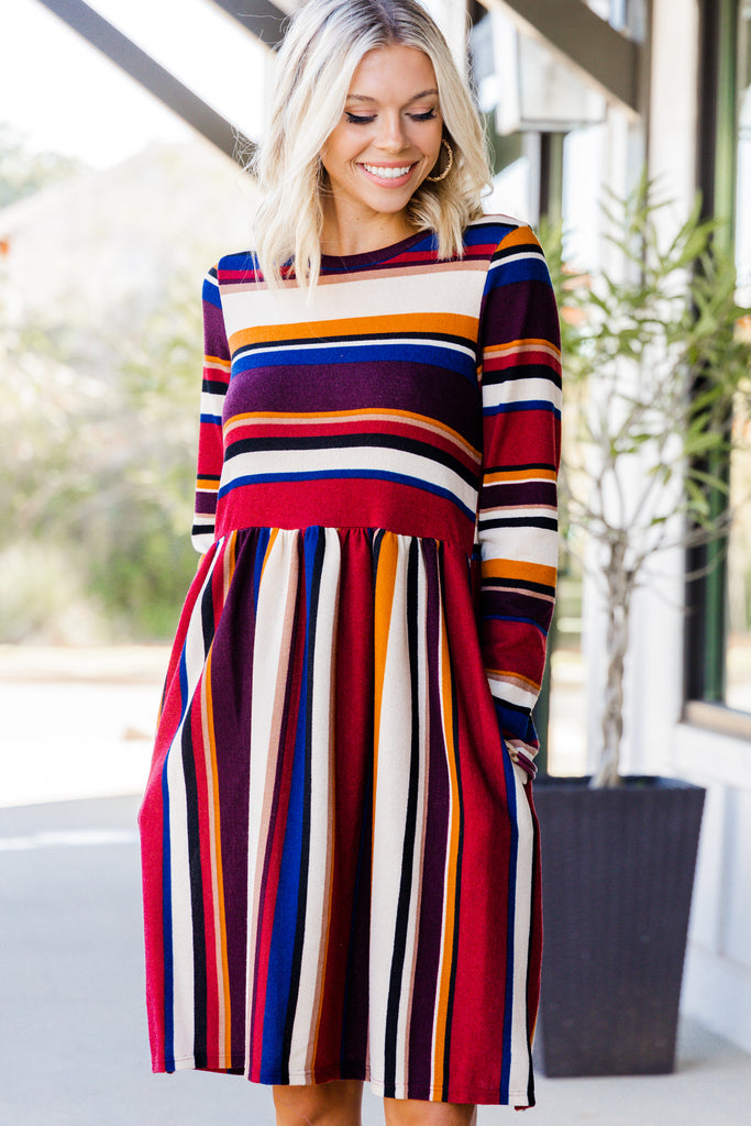 Watch You Closely Burgundy Red Striped Dress