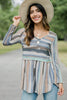 watercolor striped long sleeve top