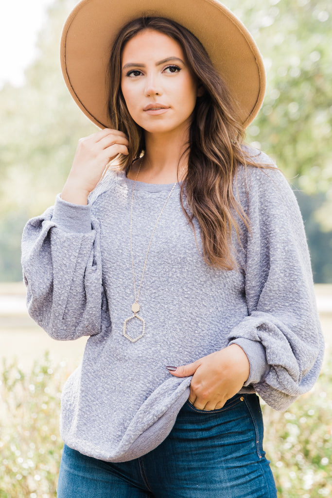 bubble sleeve pullover