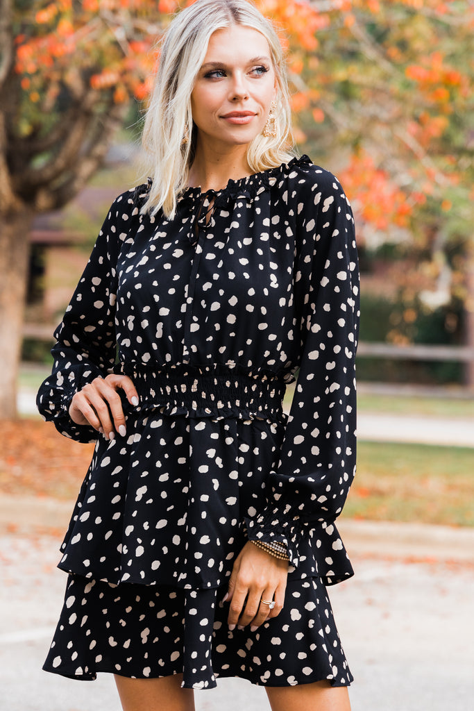 spotted long sleeve dress
