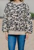 bubble sleeve leopard sweater