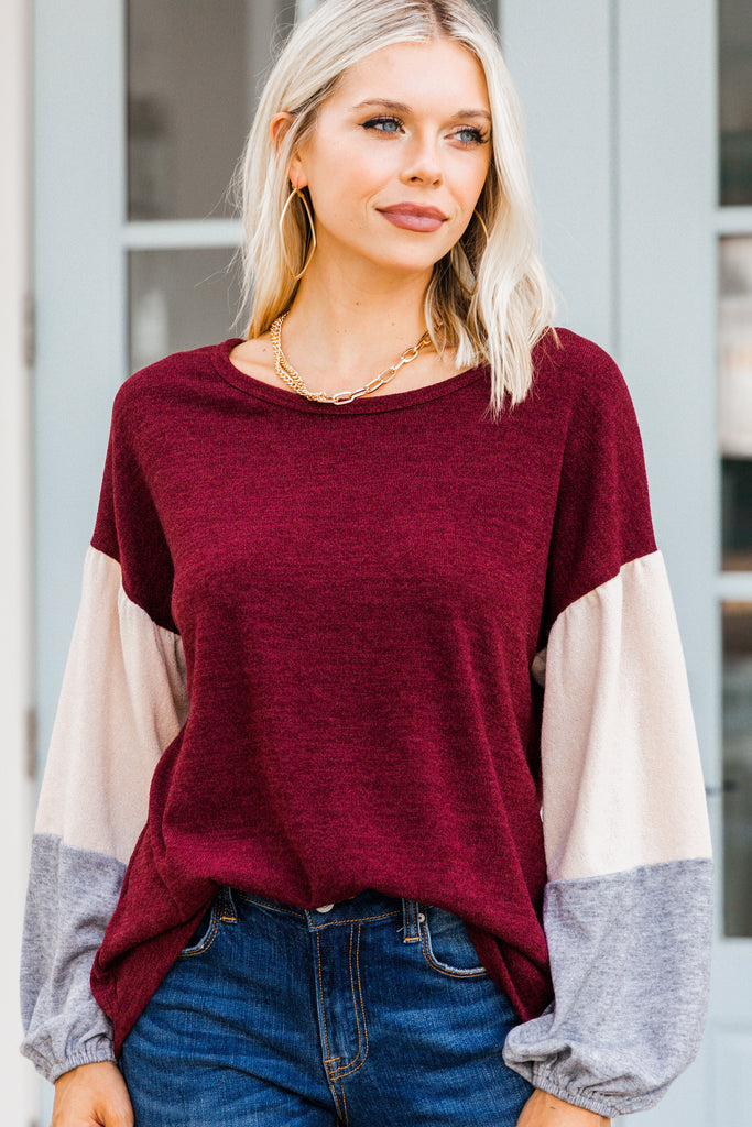 Watching Closely Burgundy Red Colorblock TOp