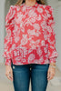 Keep Your Cool Rust Red Floral Blouse