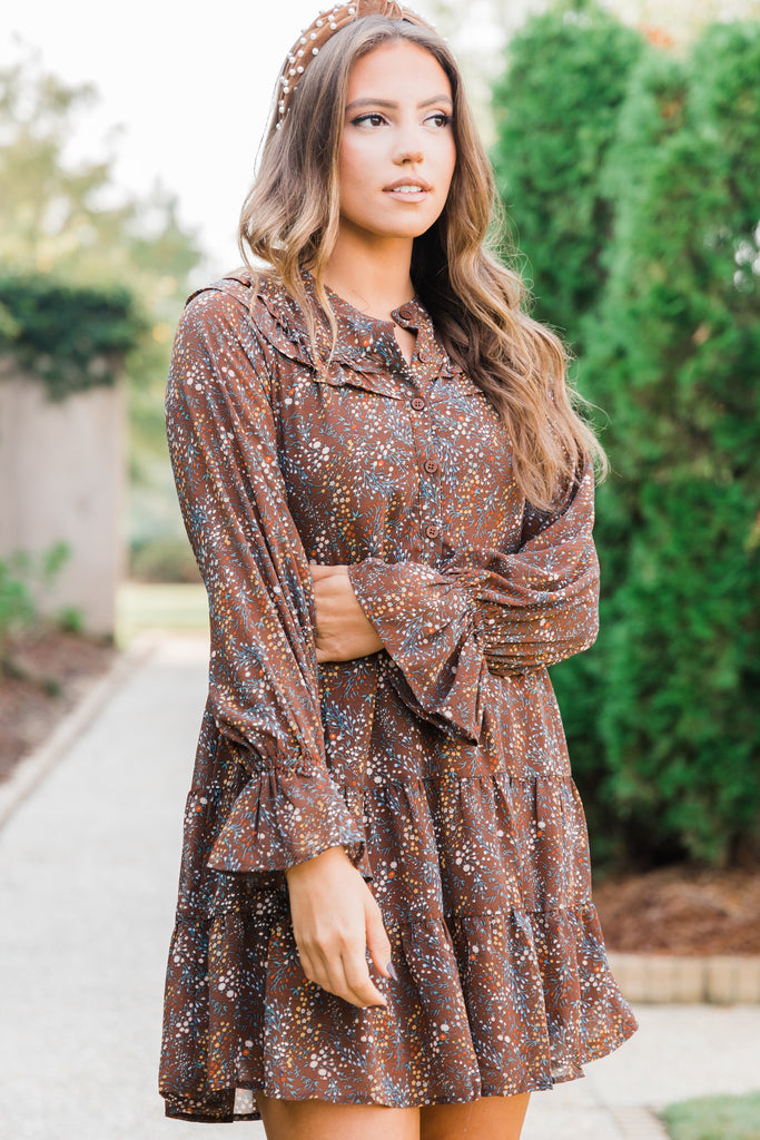 ditsy floral long sleeve ruffled dress