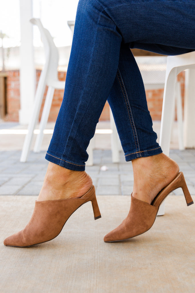 suede heeled mules