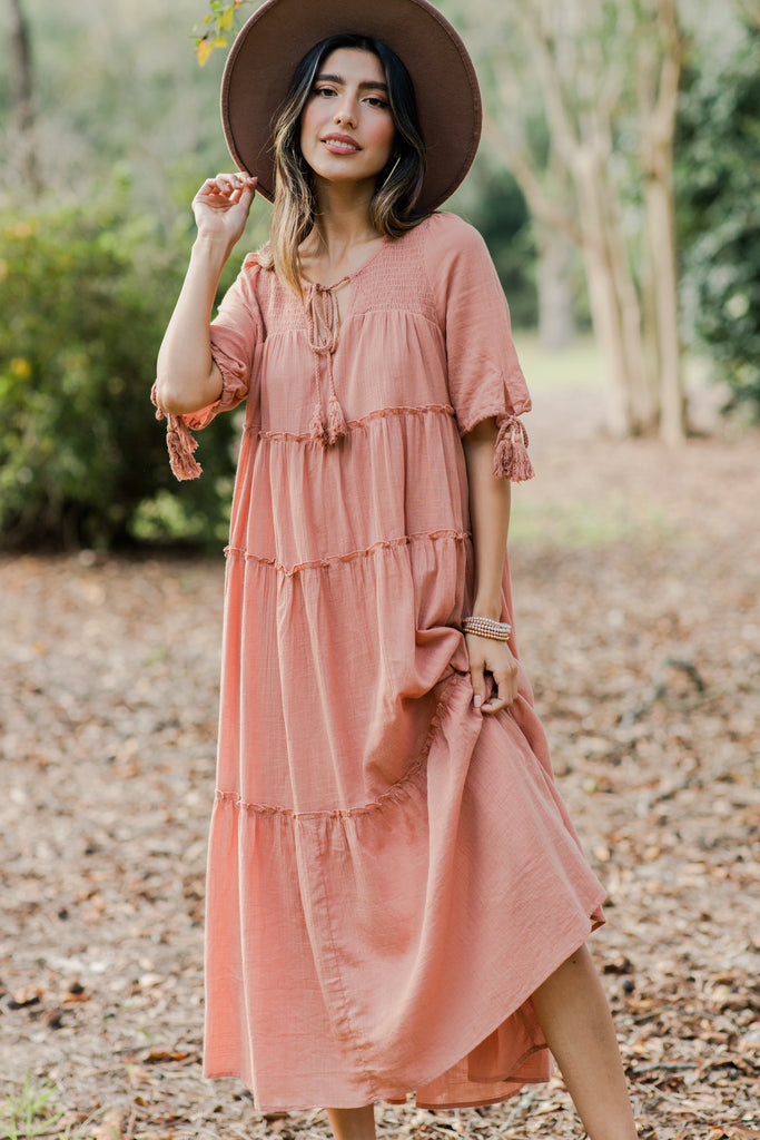 boho tiered ruffled midi dress