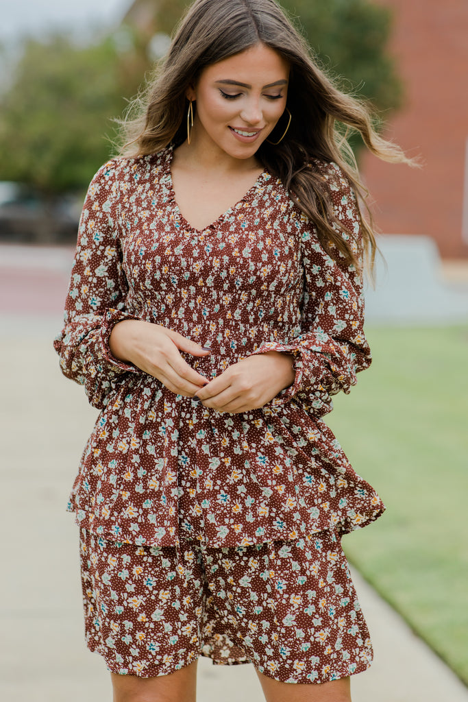 Learn Your Way Brown Ditsy Flroal Dress