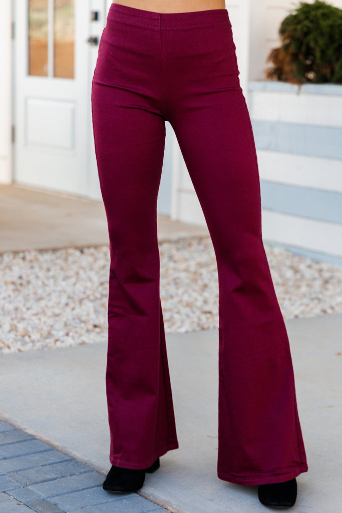 Go Have A Good Time Wine Red Flare Jeggings