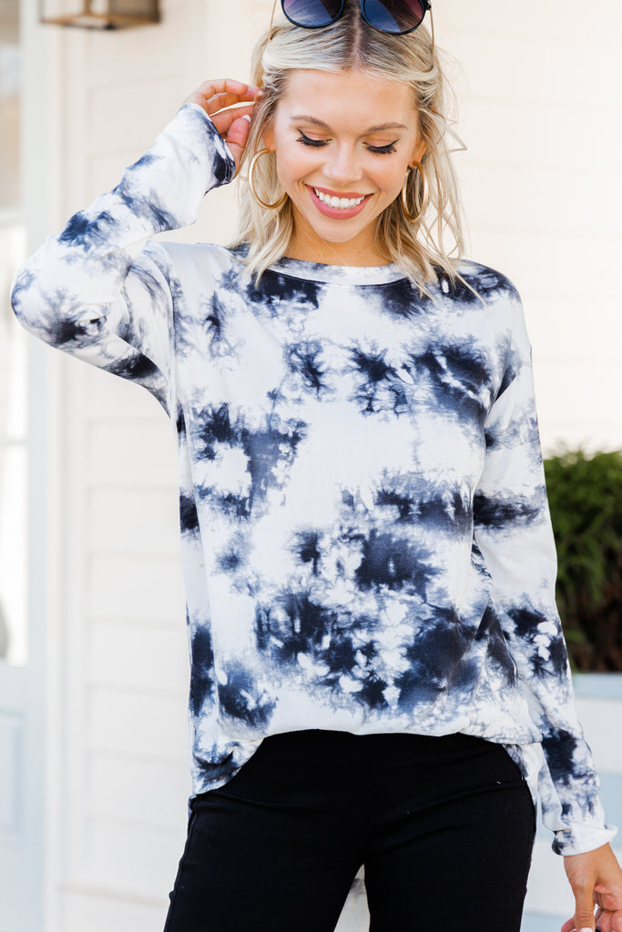 Know What You Like Black Tie Dye Top