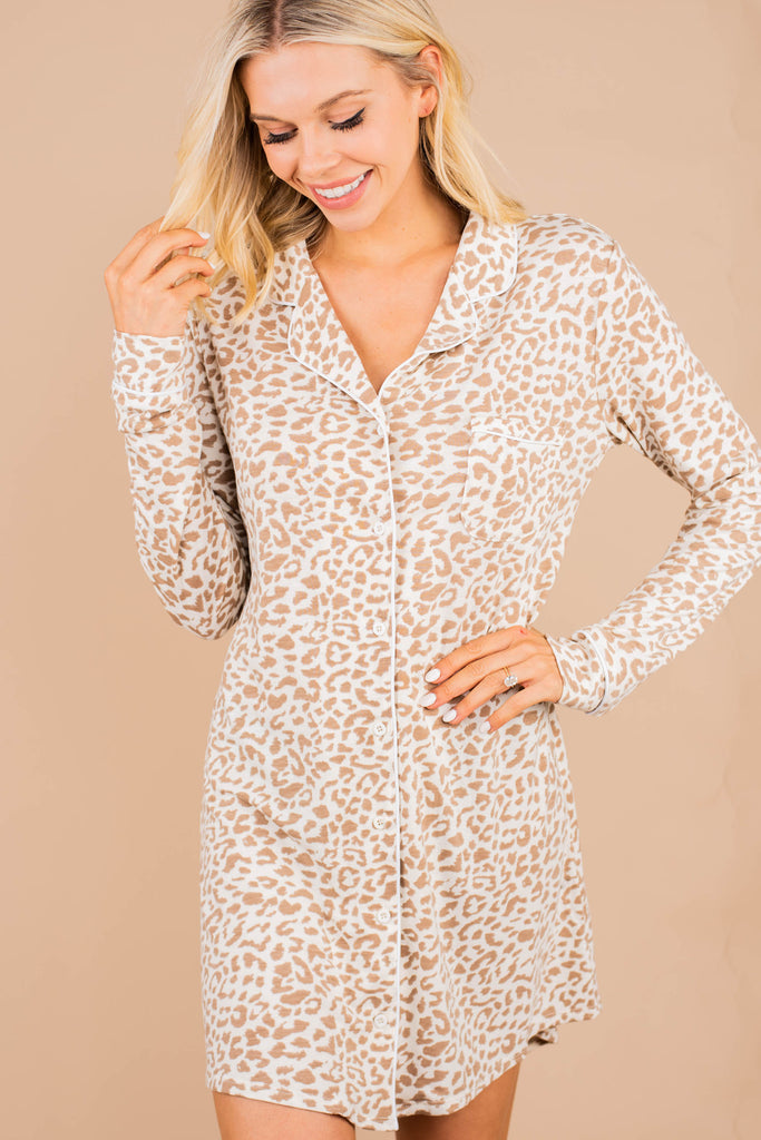 What A Night Ivory White Leopard Sleep Dress