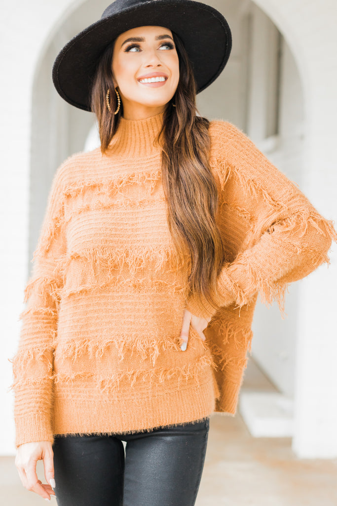 mock neck fringe sweater