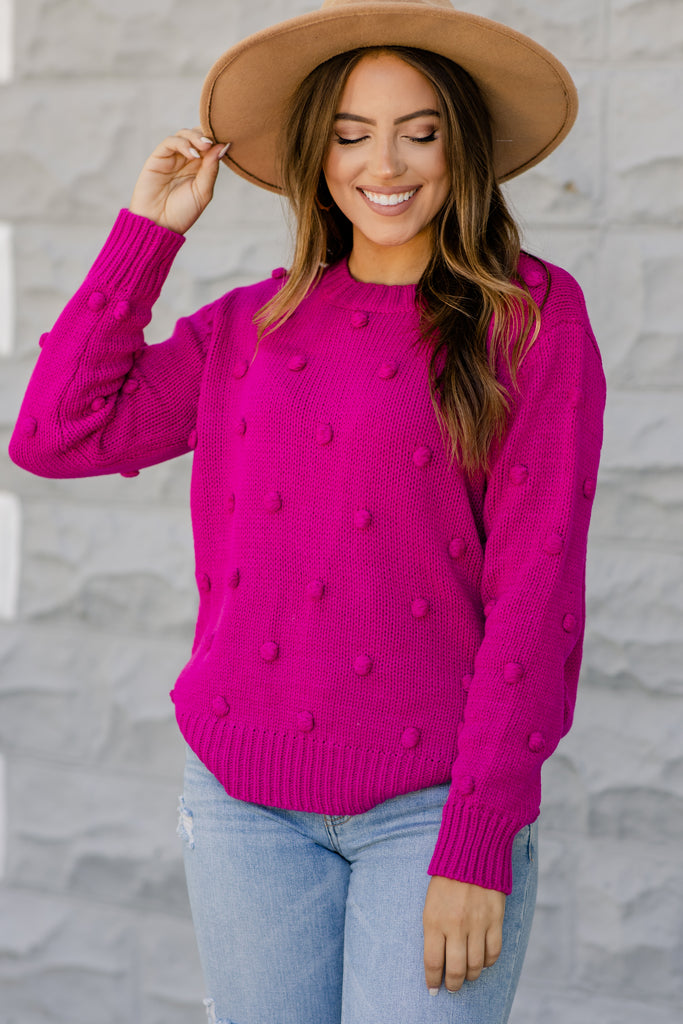 hot pink pompom sweater
