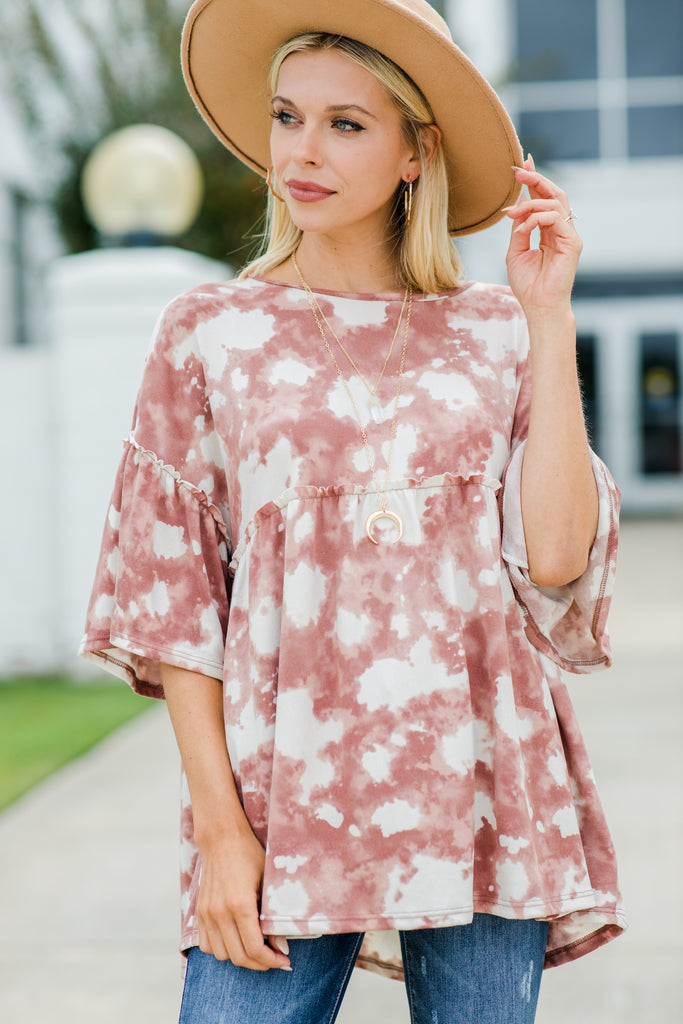 Off To Nowhere Rose Pink Tie Dye Top