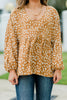 spotted bubble sleeve blouse