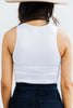 Can't Stop Me White Ribbed Crop Tank