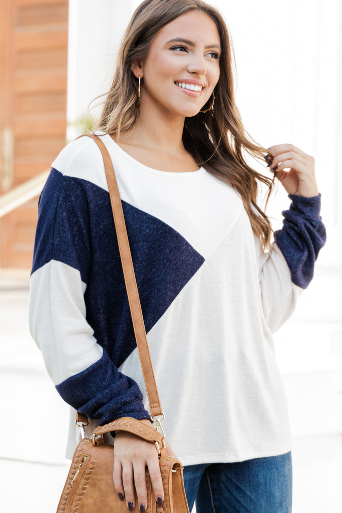 Stay By Your Side Navy Blue Colorblock Sweater