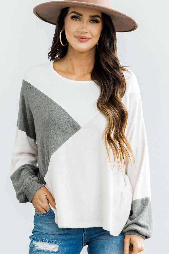 Stay By Your Side Olive Green Colorblock Sweater