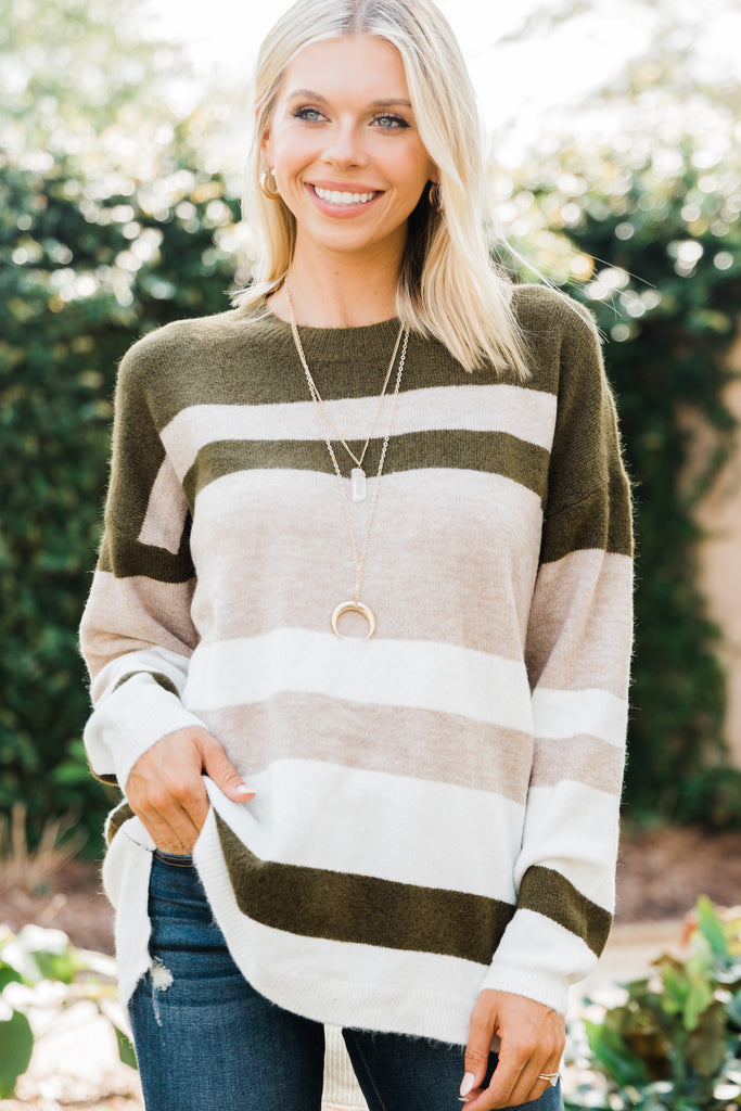 Figure You Out Olive Green Striped Sweater