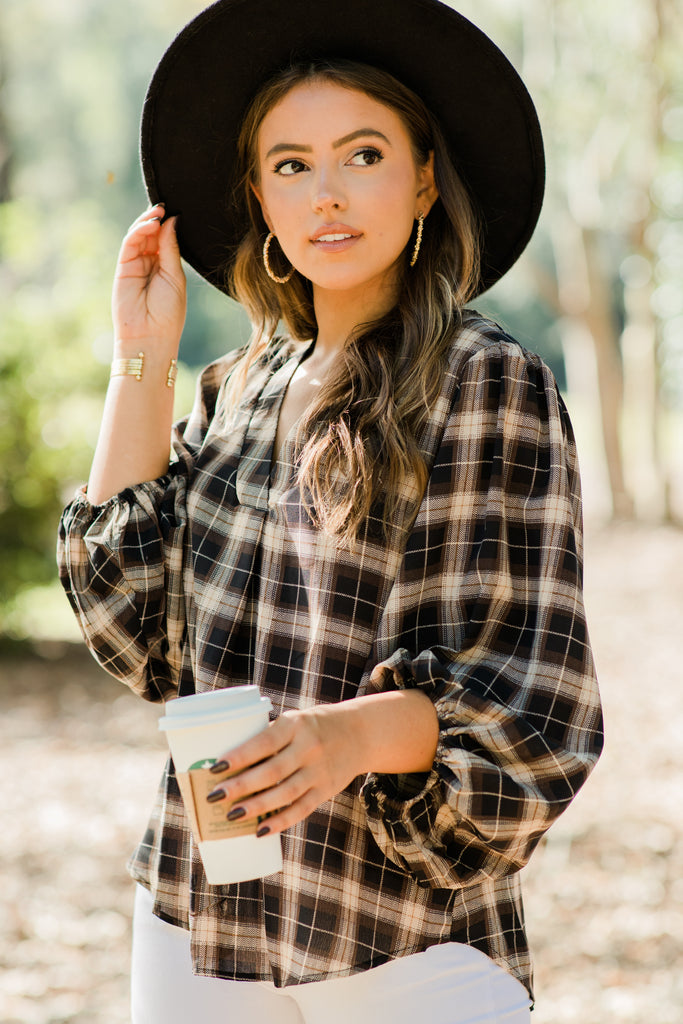 plaid bubble sleeve blouse