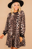 long bubble sleeve leopard dress