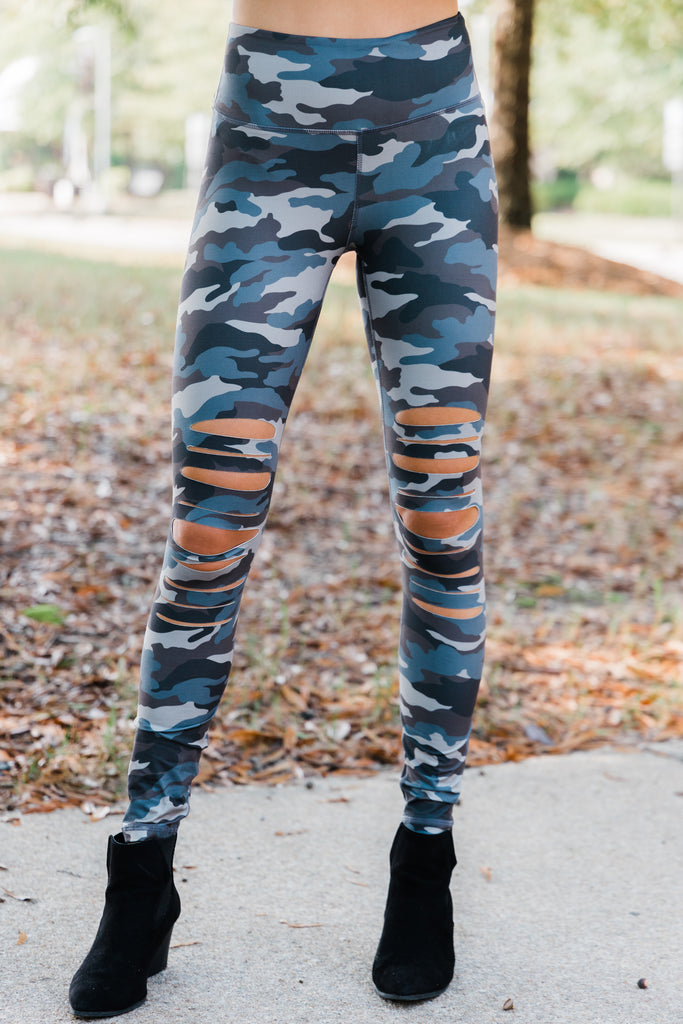 Falling For You Gray Camo Leggings