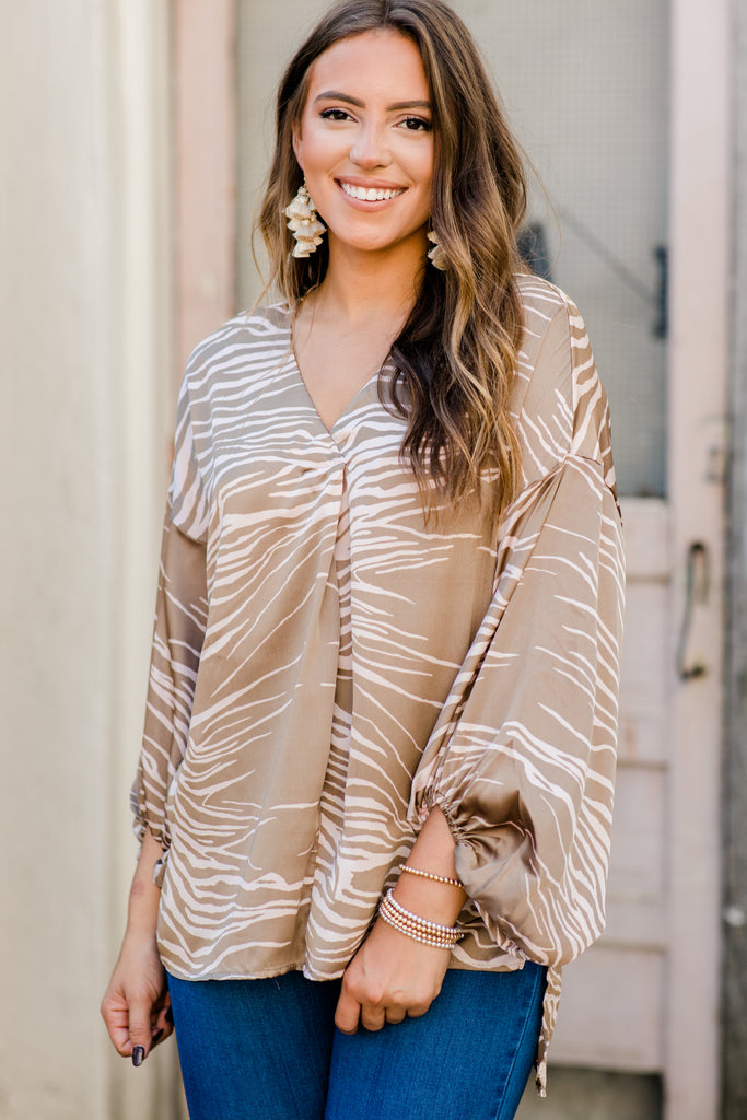 Out In The World Taupe Brown Zebra Top