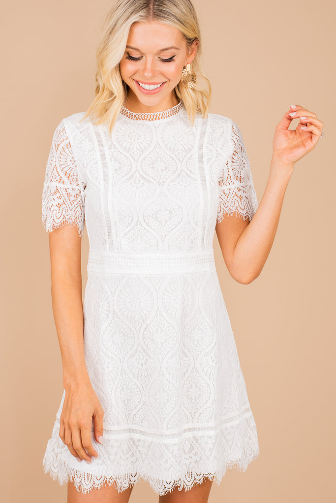chic lace white dress