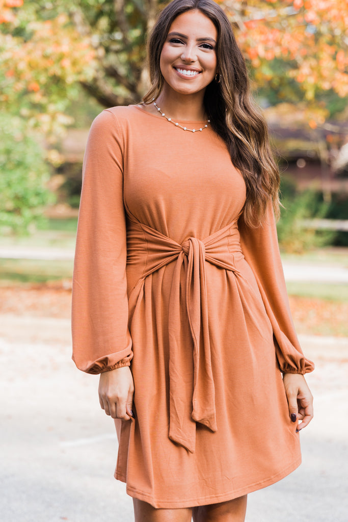 solid tied waist bubble sleeve dress