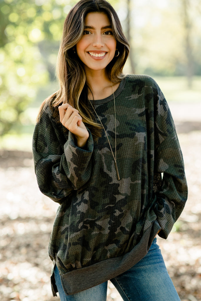 Check With Me Olive Green Camo Sweater