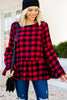 bell sleeve buffalo plaid top