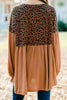 long bubble sleeve leopard tunic